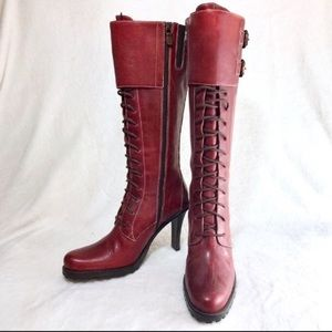 Donald Pliner sz 8 maroon lace front knee boots